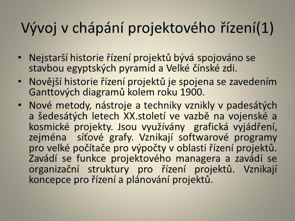 Vývoj v chápání projektového řízení(1)
