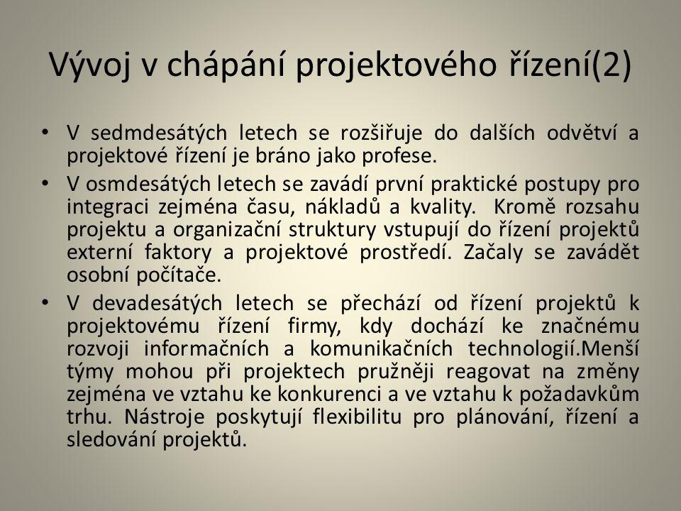 Vývoj v chápání projektového řízení(2)
