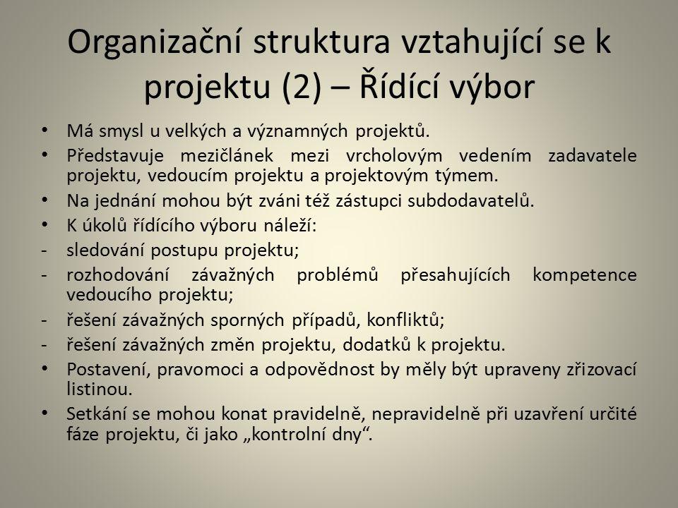 Organizační struktura vztahující se k projektu (2) – Řídící výbor