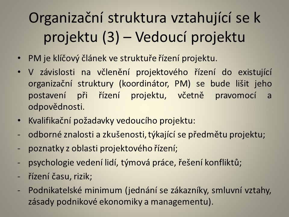 Organizační struktura vztahující se k projektu (3) – Vedoucí projektu