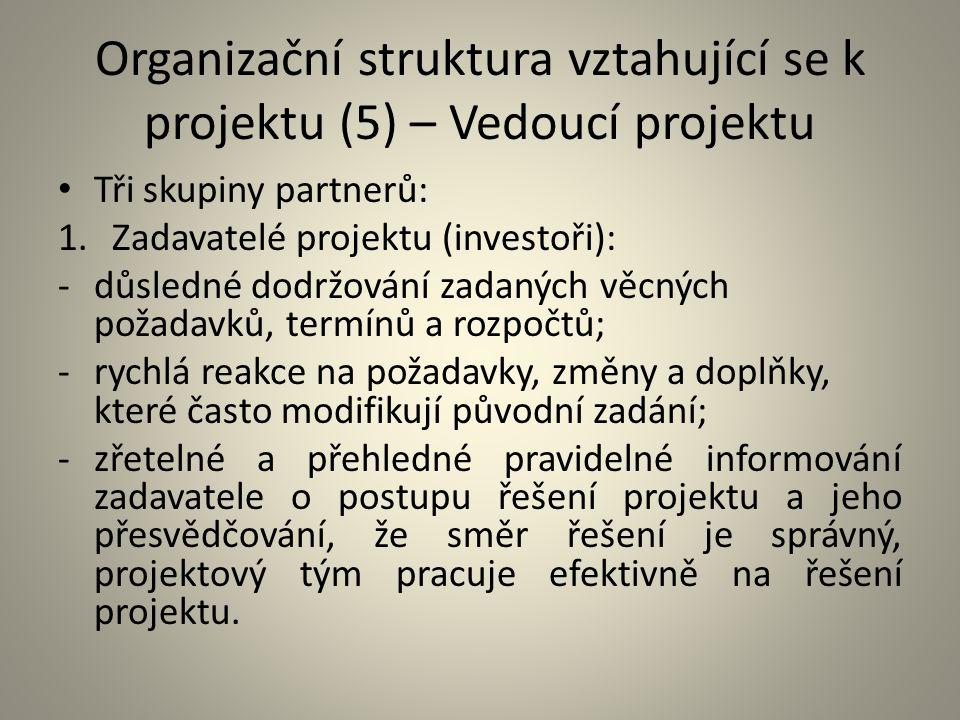 Organizační struktura vztahující se k projektu (5) – Vedoucí projektu