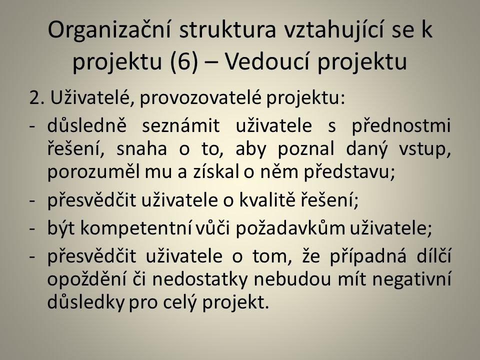 Organizační struktura vztahující se k projektu (6) – Vedoucí projektu