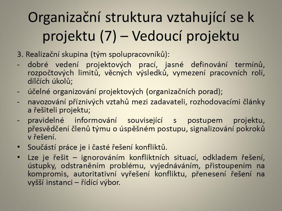Organizační struktura vztahující se k projektu (7) – Vedoucí projektu