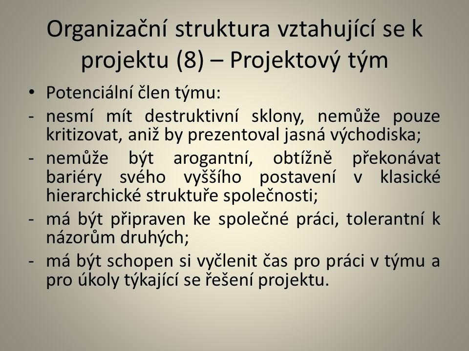 Organizační struktura vztahující se k projektu (8) – Projektový tým