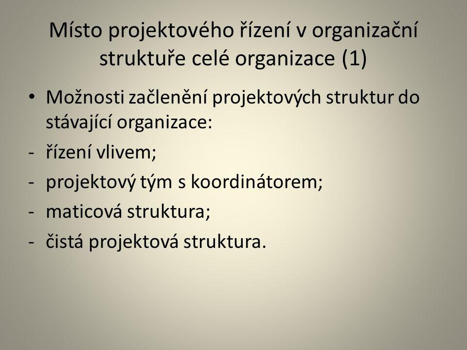 Místo projektového řízení v organizační struktuře celé organizace (1)