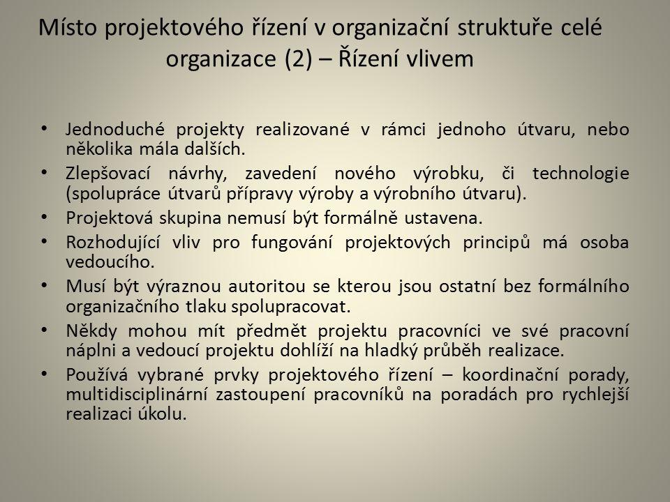 Místo projektového řízení v organizační struktuře celé organizace (2) – Řízení vlivem
