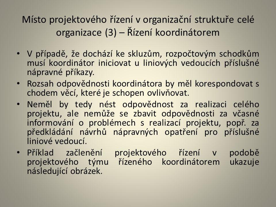 Místo projektového řízení v organizační struktuře celé organizace (3) – Řízení koordinátorem