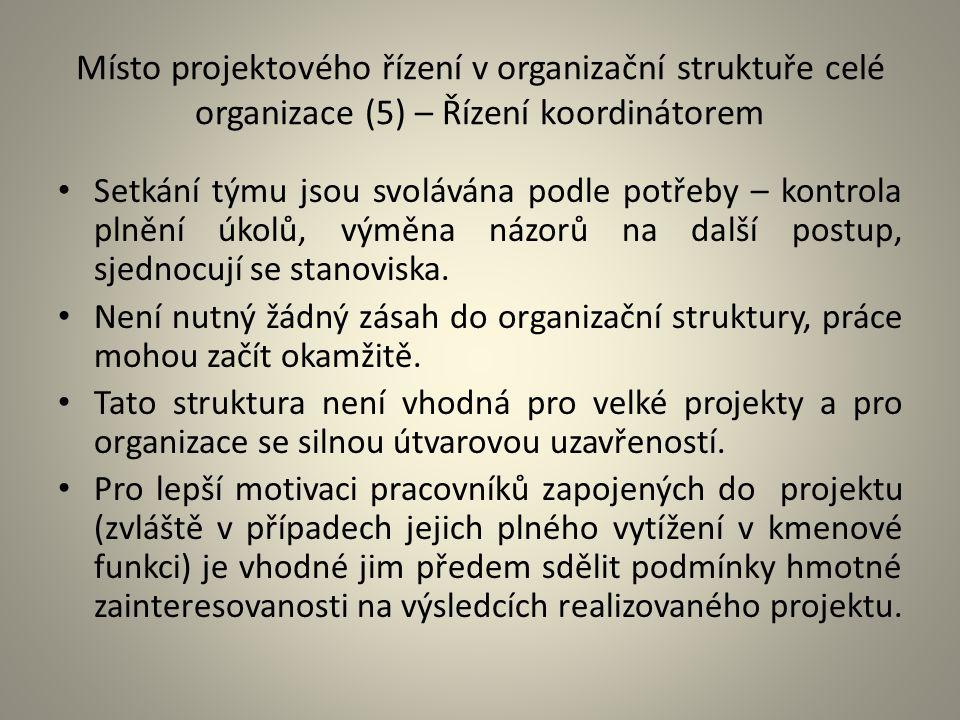 Místo projektového řízení v organizační struktuře celé organizace (5) – Řízení koordinátorem
