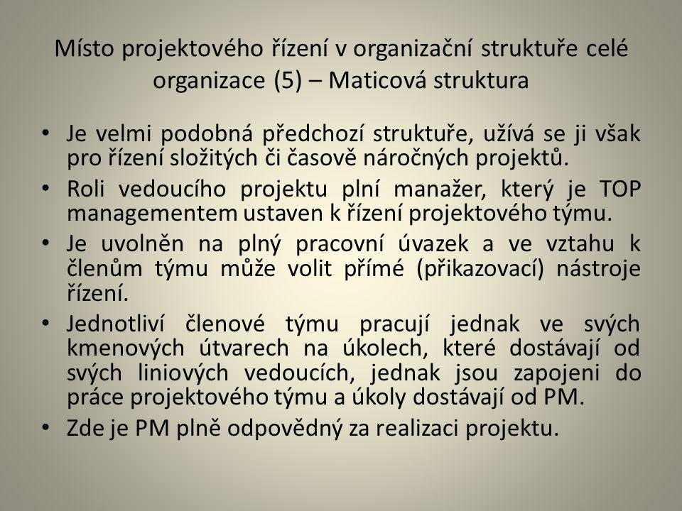 Místo projektového řízení v organizační struktuře celé organizace (5) – Maticová struktura