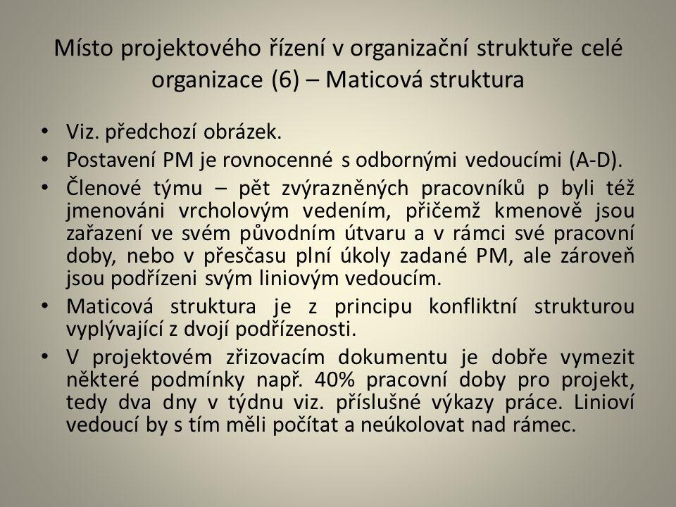 Místo projektového řízení v organizační struktuře celé organizace (6) – Maticová struktura