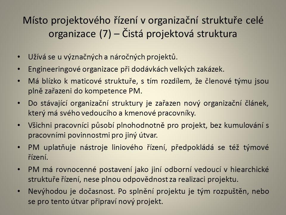 Místo projektového řízení v organizační struktuře celé organizace (7) – Čistá projektová struktura