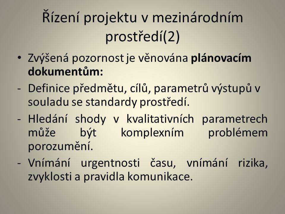 Řízení projektu v mezinárodním prostředí(2)