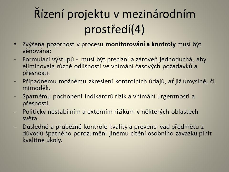 Řízení projektu v mezinárodním prostředí(4)