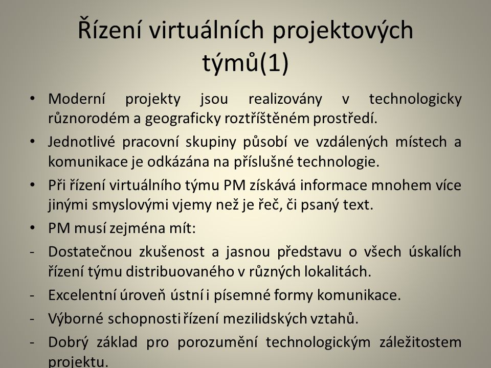 Řízení virtuálních projektových týmů(1)