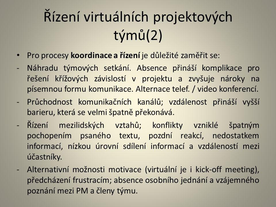 Řízení virtuálních projektových týmů(2)