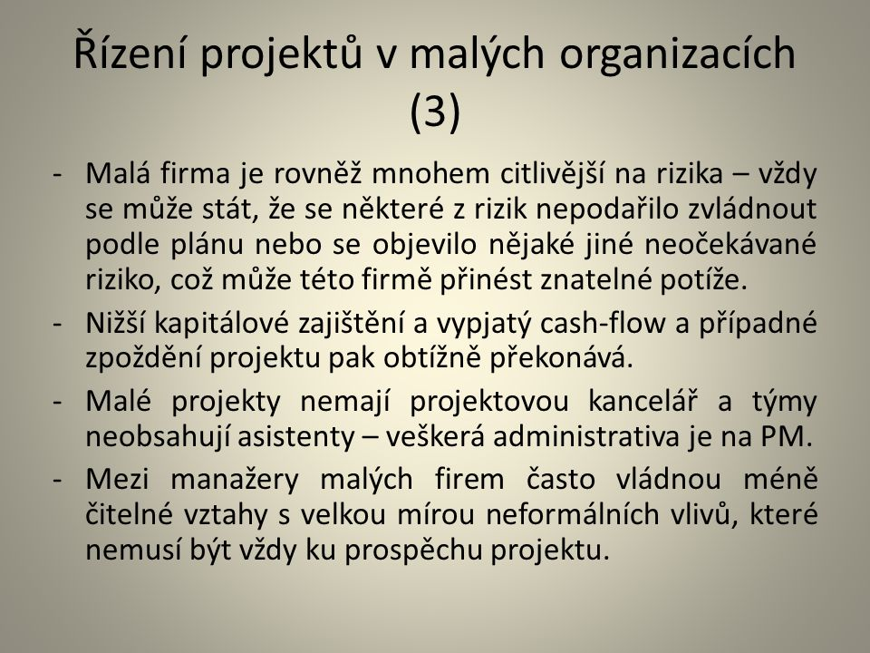 Řízení projektů v malých organizacích (3)