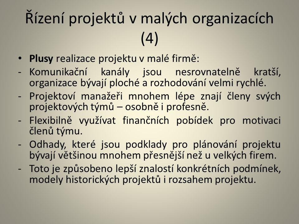 Řízení projektů v malých organizacích (4)