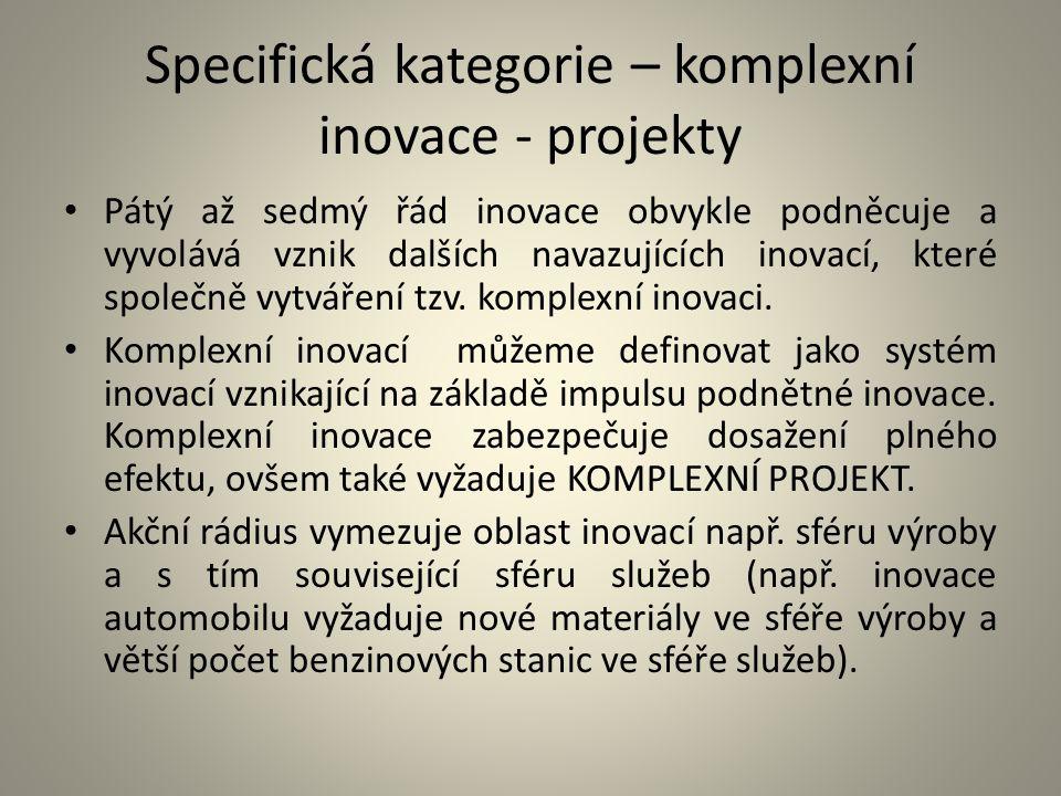 Specifická kategorie – komplexní inovace - projekty