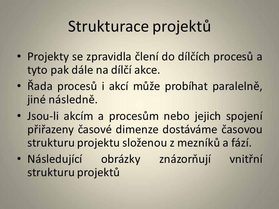 Strukturace projektů Projekty se zpravidla člení do dílčích procesů a tyto pak dále na dílčí akce.