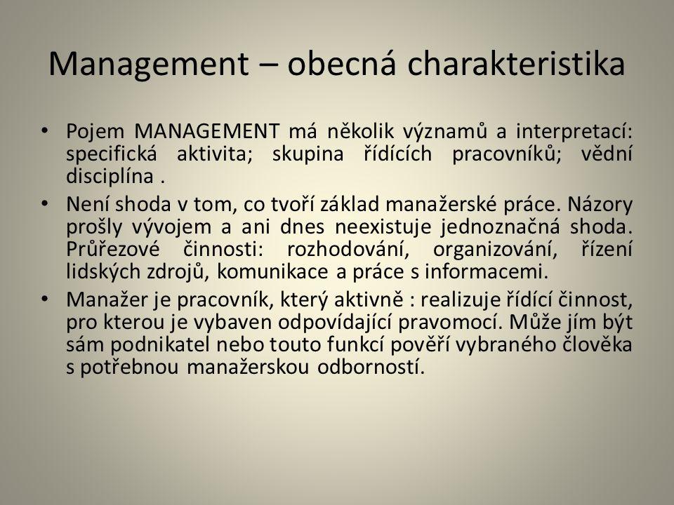 Management – obecná charakteristika