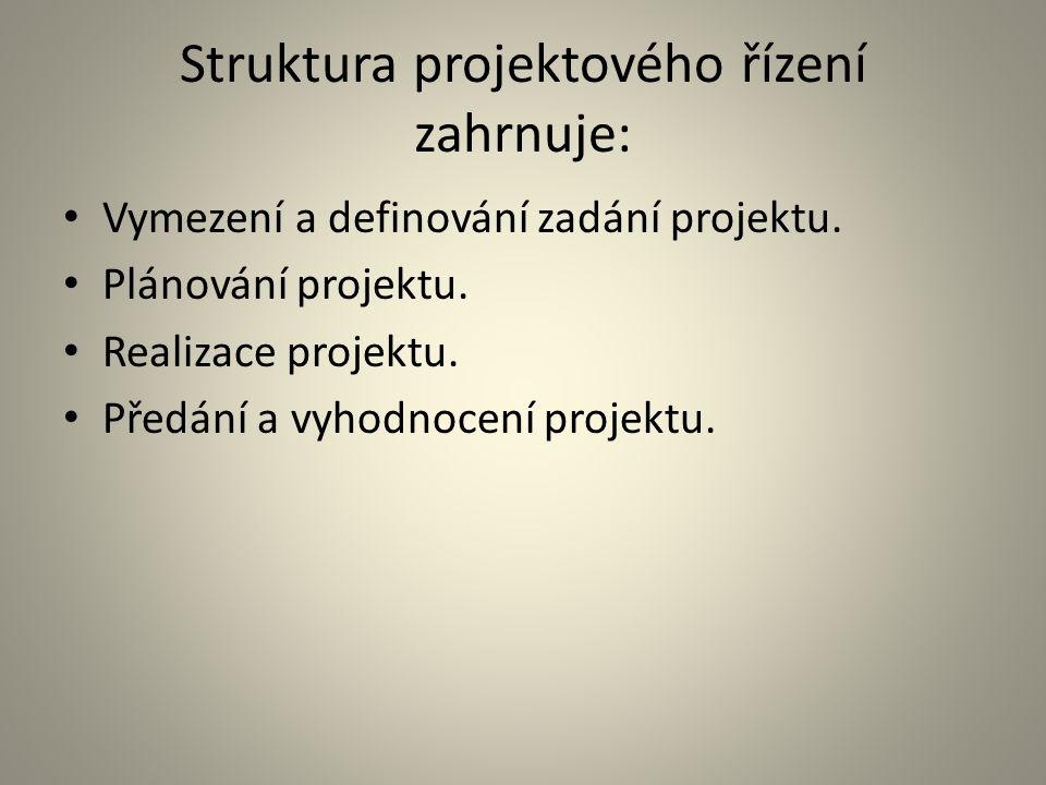 Struktura projektového řízení zahrnuje: