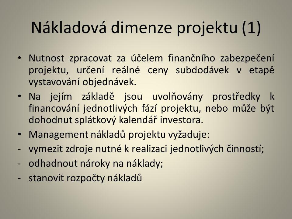 Nákladová dimenze projektu (1)