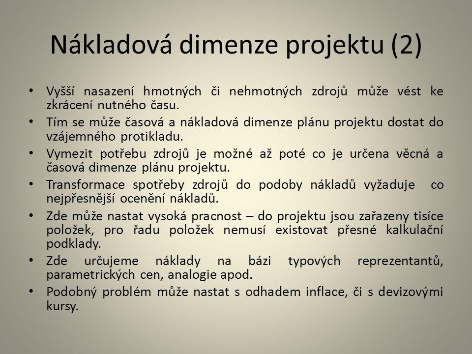 Nákladová dimenze projektu (2)