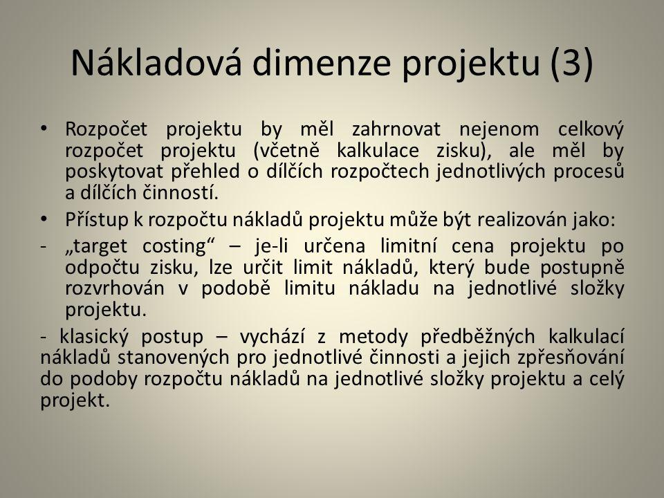 Nákladová dimenze projektu (3)