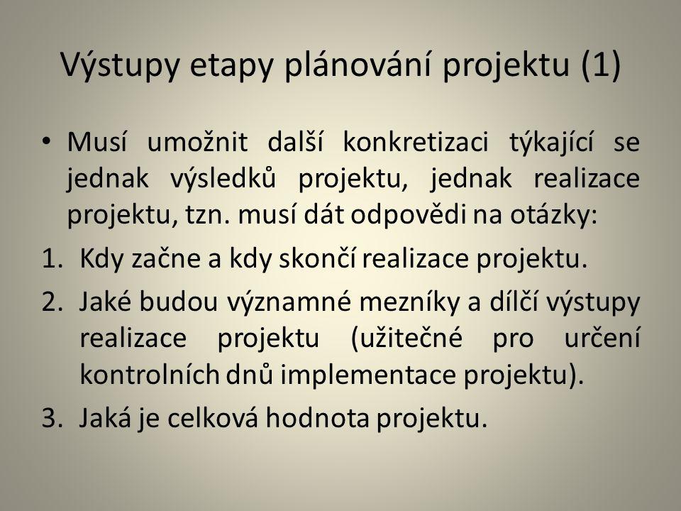 Výstupy etapy plánování projektu (1)