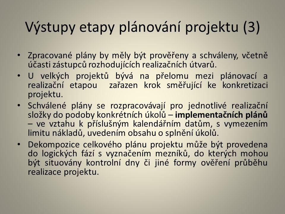 Výstupy etapy plánování projektu (3)