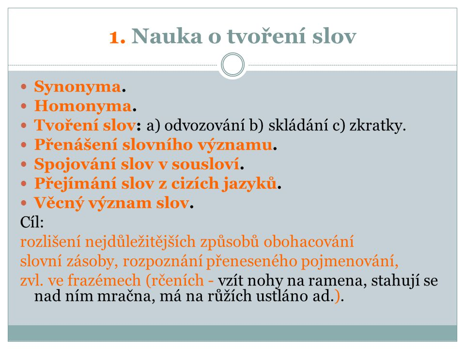 1. Nauka o tvoření slov Synonyma. Homonyma.