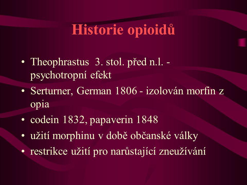 Historie opioidů Theophrastus 3. stol. před n.l. - psychotropní efekt