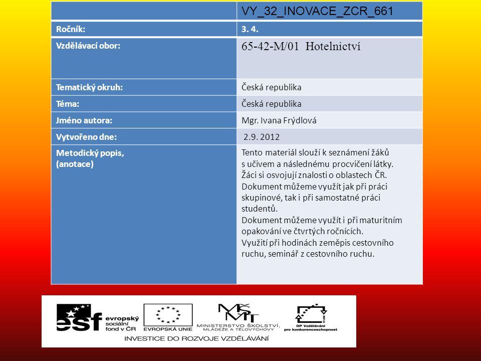 VY_32_INOVACE_ZCR_661 65-42-M/01 Hotelnictví Ročník: 3. 4.