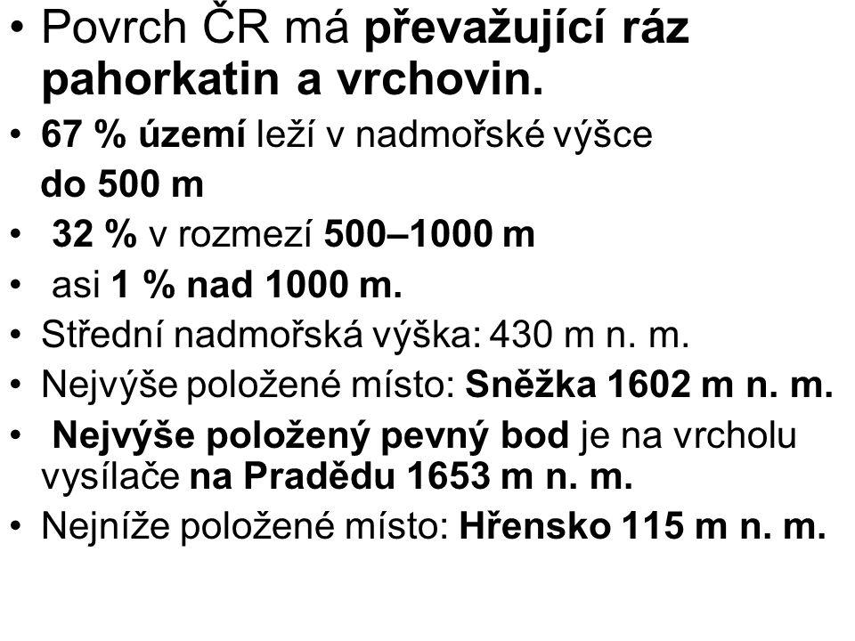 Povrch ČR má převažující ráz pahorkatin a vrchovin.