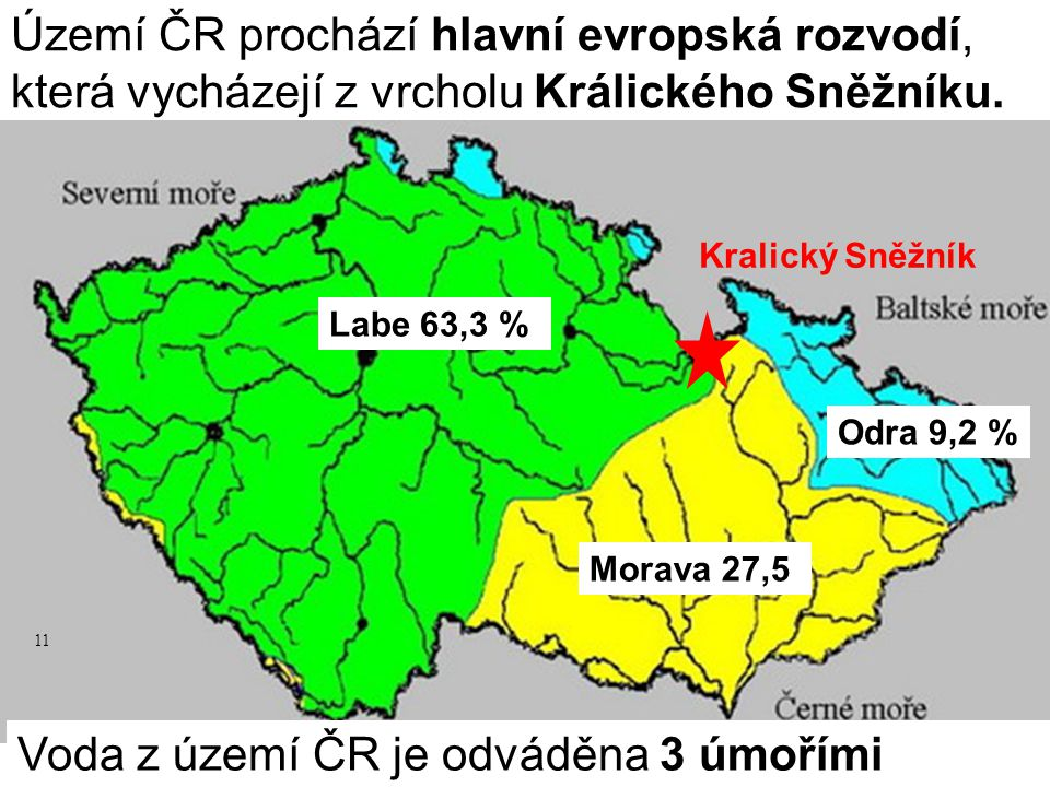 Voda z území ČR je odváděna 3 úmořími