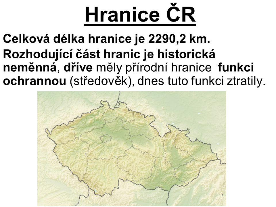 Hranice ČR Celková délka hranice je 2290,2 km.
