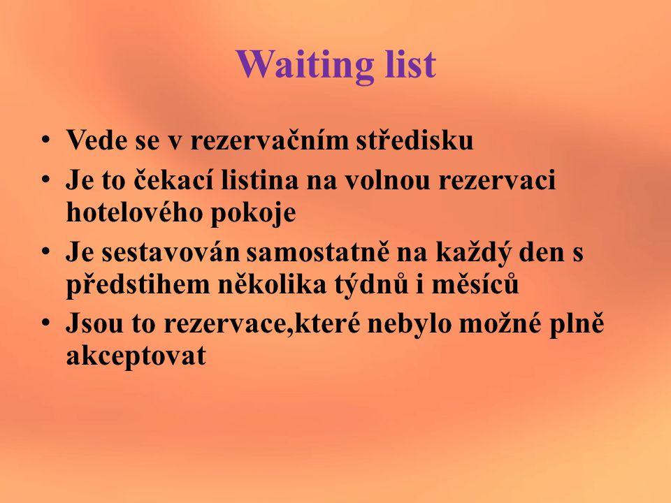 Waiting list Vede se v rezervačním středisku