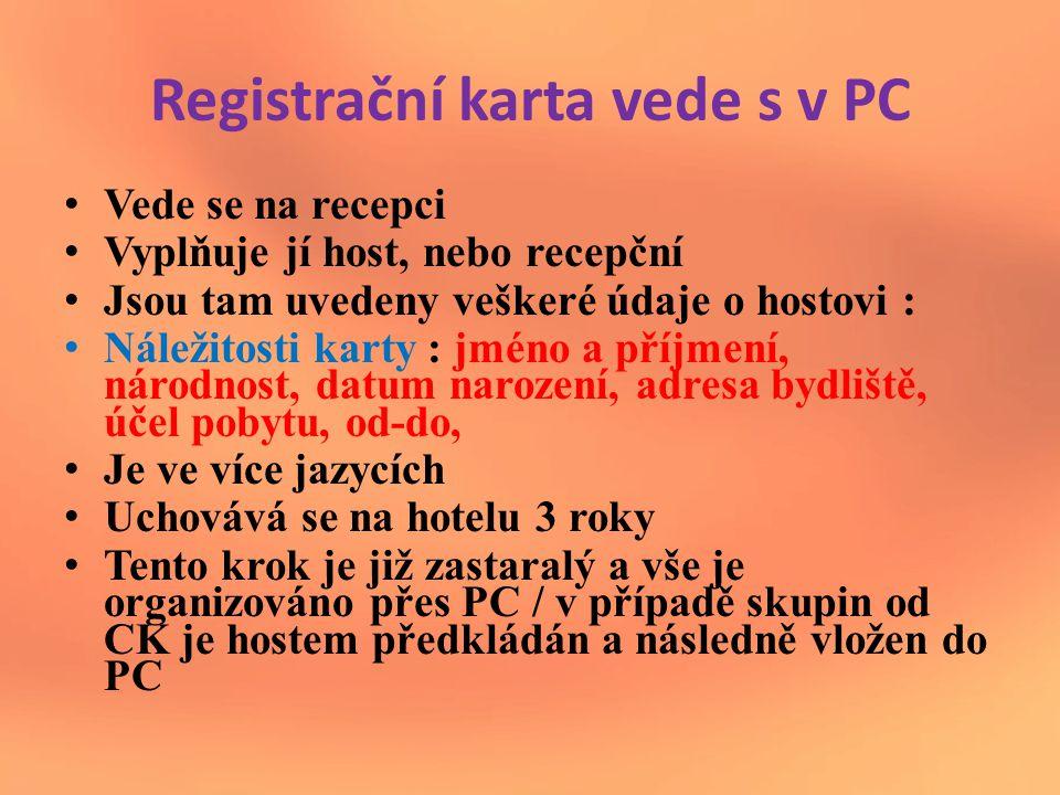 Registrační karta vede s v PC