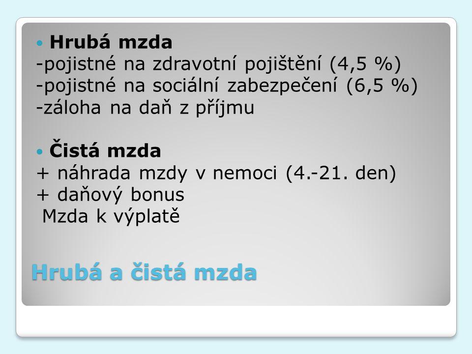 Hrubá a čistá mzda Hrubá mzda -pojistné na zdravotní pojištění (4,5 %)