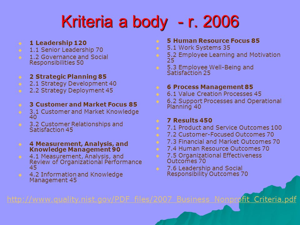Kriteria a body - r. 2006 5 Human Resource Focus 85. 5.1 Work Systems 35. 5.2 Employee Learning and Motivation 25.