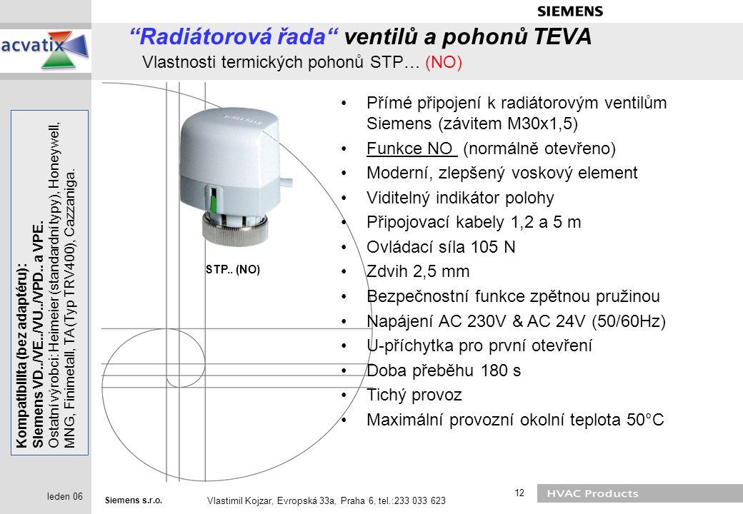 Radiátorová řada ventilů a pohonů TEVA Vlastnosti termických pohonů STP… (NO)