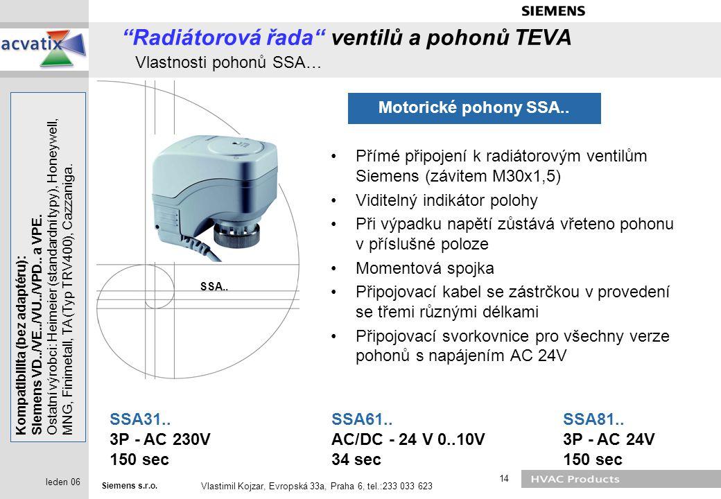 Radiátorová řada ventilů a pohonů TEVA Vlastnosti pohonů SSA…