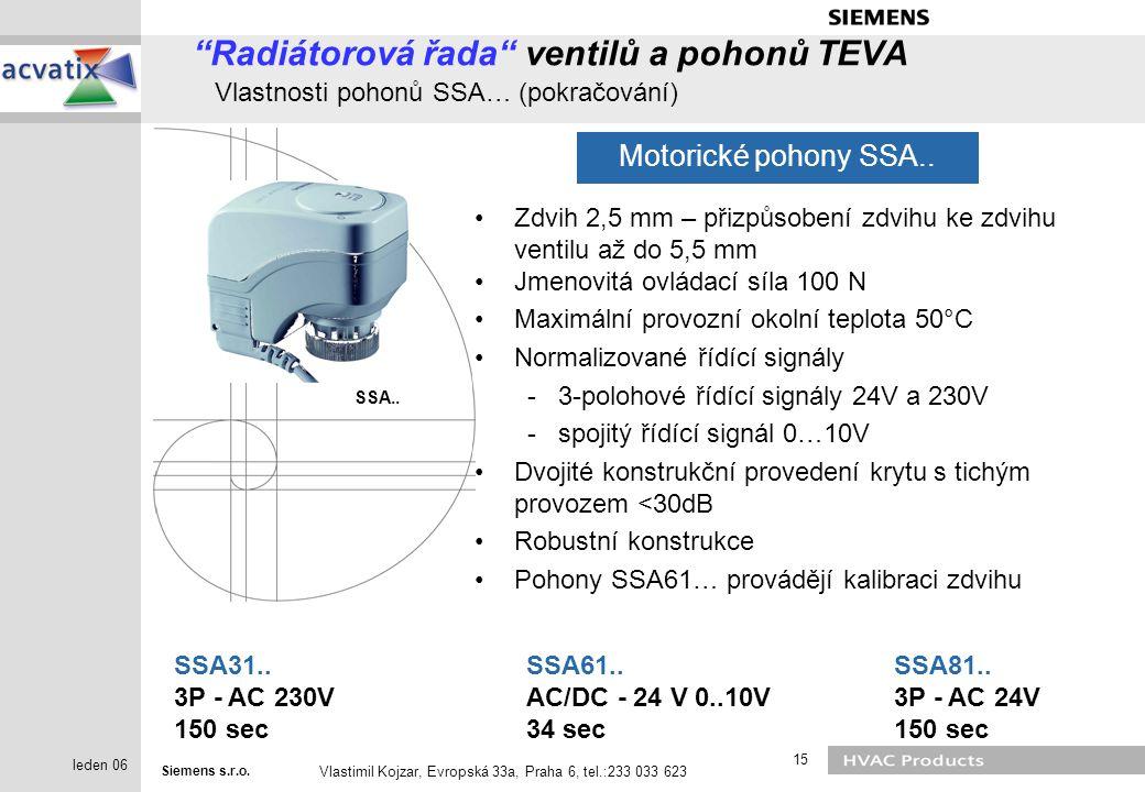 Radiátorová řada ventilů a pohonů TEVA Vlastnosti pohonů SSA… (pokračování)