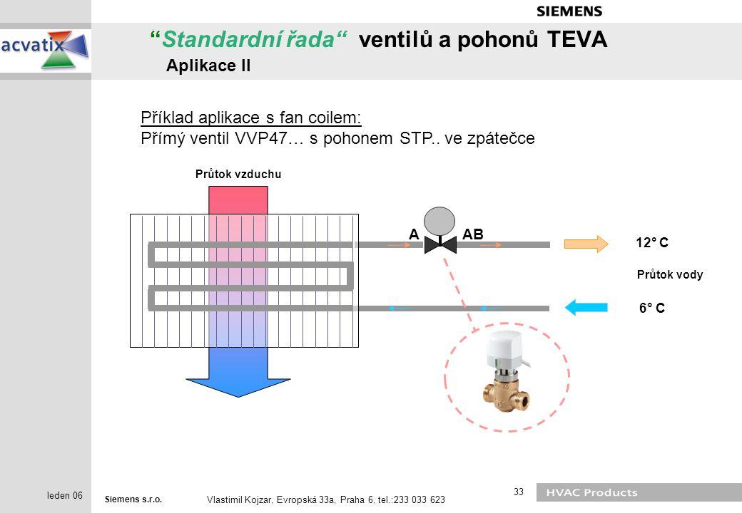 Standardní řada ventilů a pohonů TEVA Aplikace II