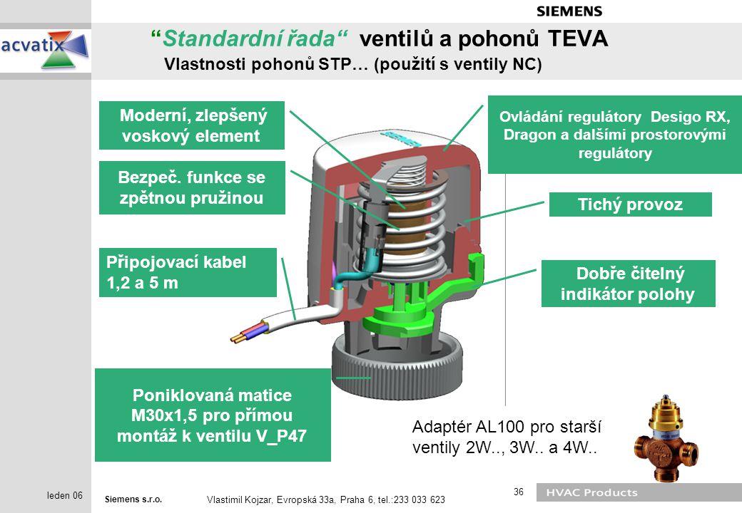 Standardní řada ventilů a pohonů TEVA Vlastnosti pohonů STP… (použití s ventily NC)