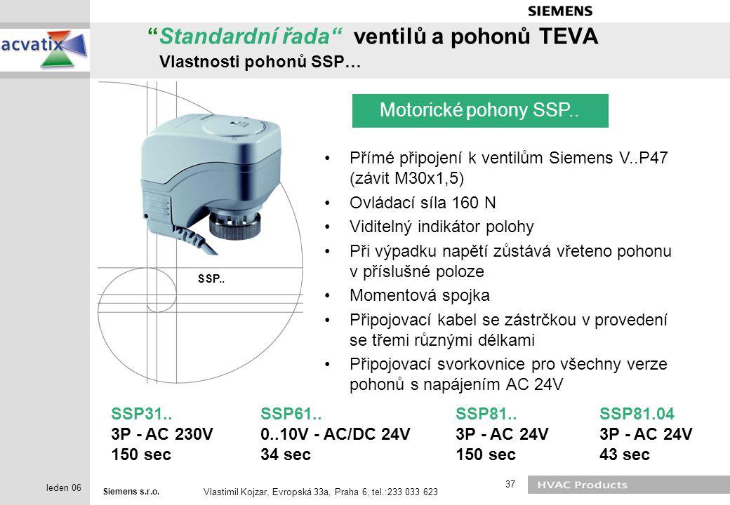 Standardní řada ventilů a pohonů TEVA Vlastnosti pohonů SSP…