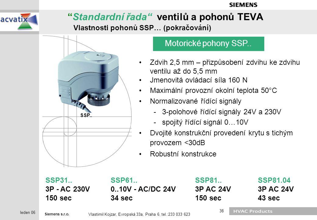 Standardní řada ventilů a pohonů TEVA Vlastnosti pohonů SSP… (pokračování)
