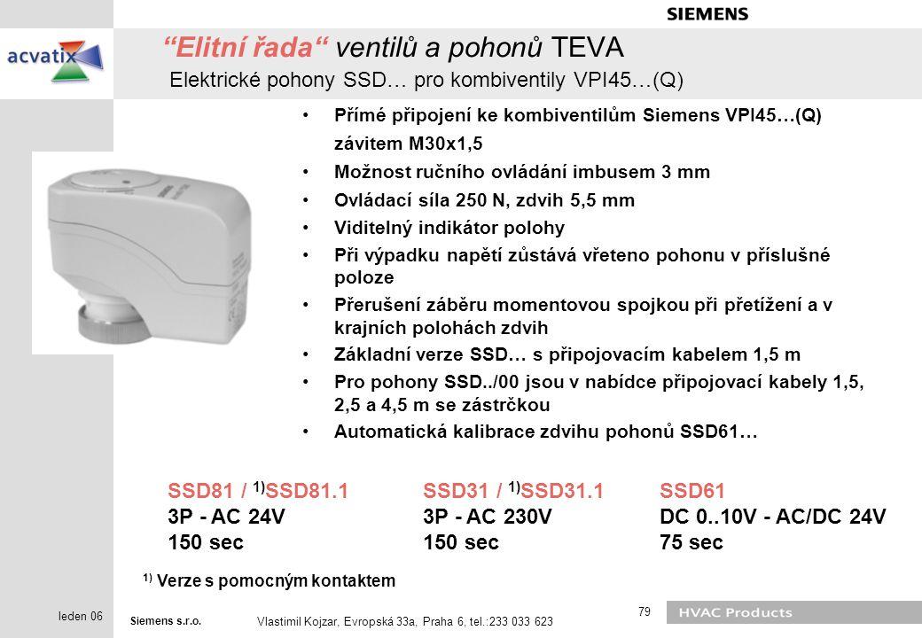 Elitní řada ventilů a pohonů TEVA Elektrické pohony SSD… pro kombiventily VPI45…(Q)