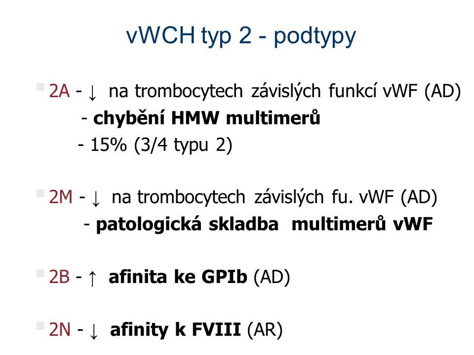 vWCH typ 2 - podtypy 2A - ↓ na trombocytech závislých funkcí vWF (AD)