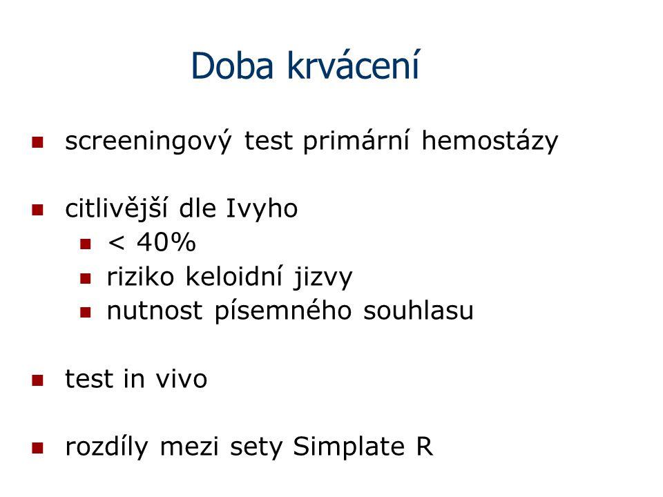 Doba krvácení screeningový test primární hemostázy